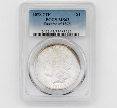 1878 7TF Reverse of '78 Morgan Silver $1 MS63 PCGS (242)