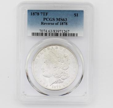 1878 7TF Reverse of '78 Morgan Silver $1 MS63 PCGS (267)