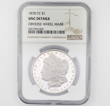 1878 CC Morgan Silver $1 Unc Details Obverse Wheel Mark NGC (004)