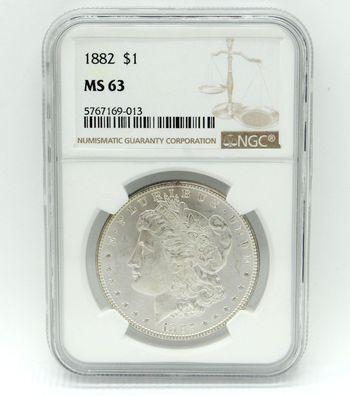 1882 Morgan Silver Dollar NGC MS 63