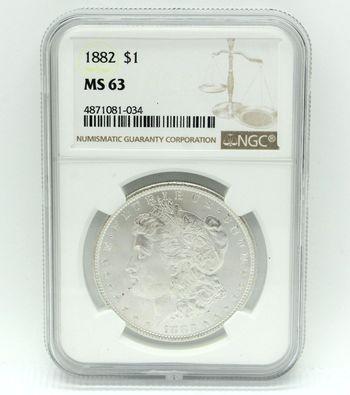 1882 Morgan Silver Dollar NGC MS63