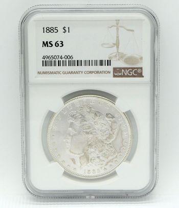 1885 Morgan Silver Dollar NGC MS 63