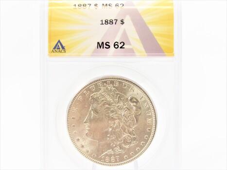 1887 SILVER Morgan Dollar MS63 ANACS (85)