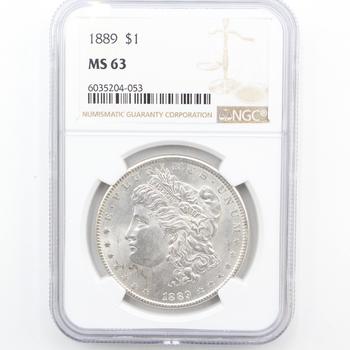 1889-P Silver Morgan Dollar NGC MS 63 (053)