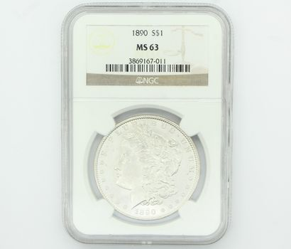 1890 Morgan Silver Dollar NGC MS63 (011)
