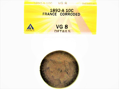 1892-A 10 Cent Jeton France Corroded Coin VG8 Details ANACS (089)