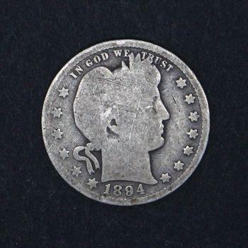 1894 Barber Quarter Dollar Heavily Circulated