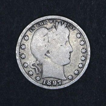 1897 Barber Quarter Dollar Heavily Circulated