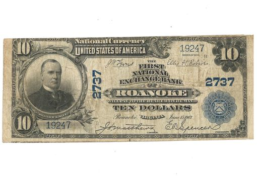 1902 $10 Blue Seal First National Exchange Bank of Roanoke Large National Currency Note