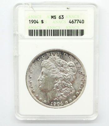 1904 Morgan Silver Dollar ANACS MS 63 Select Uncirculated