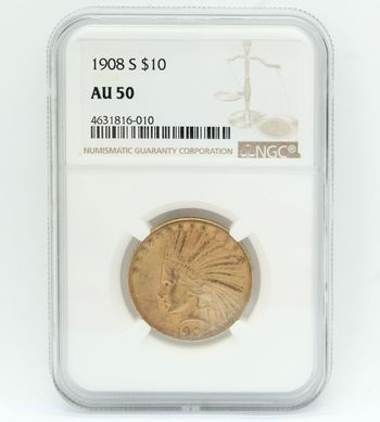 1908-S $10 Indian Head Gold Coin NGC AU 50