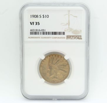 1908-S $10 Indian Head Gold Coin NGC VF 35