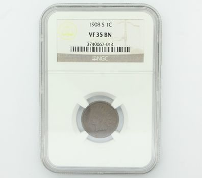 1908-S Indian Head Penny NGC VF35 BN Key Date (014)
