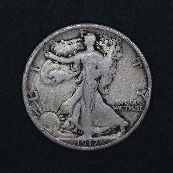 1917 Walking Liberty Half Dollar Heavily Circulated
