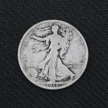 1918-D Walking Liberty Silver Half Dollar VG (a)