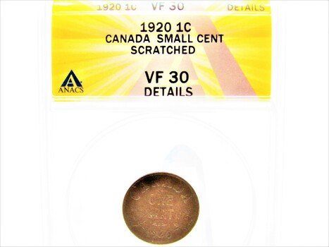 1920 1 Cent Canada Small Cent Scratched Coin VF30 Details ANACS (087)