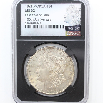 1921 Silver Morgan $1 Last Year of Issue NGC MS 62 100th Anniversary (149)