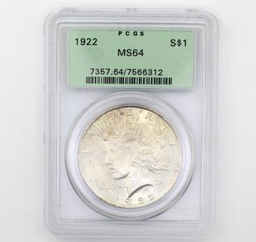 1922 Peace Am. Eagle Silver $1 MS64 PCGS (312)