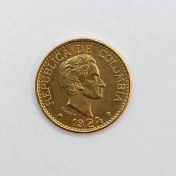 1924 Gold 5 Pesos Republic of Columbia (r)