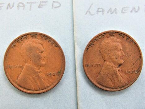 1926 & 1935 Error Penny Lot (Both Laminated) (b)
