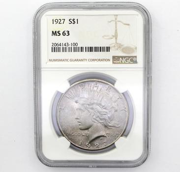 1927 Peace Am. Eagle Silver $1 MS63 NGC (100)