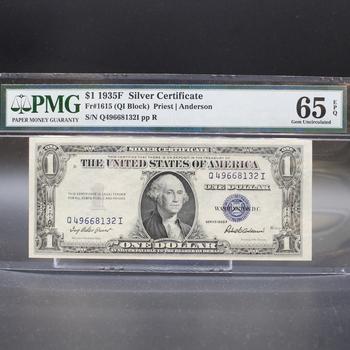1935F $1 Silver Certificate 65 Gem Uncirculated EPQ Fr#1615 PMG
