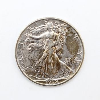 1938-P 90% Silver Walking Liberty 50c XF (043)