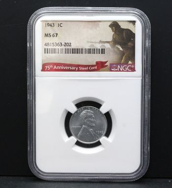 1943 75th Anniversary Steel Cent NGC MS67