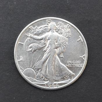 1944-D 90% Silver Walking Liberty Half Dollar XF