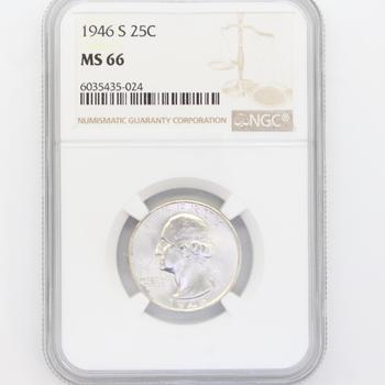 1946-S 90% Silver Washington Quarter NGC MS 66
