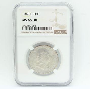 1948-D Franklin 90% Silver Half Dollar NGC MS 65 FBL