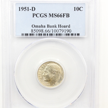 1951-D Silver Roosevelt Dime Omaha Bank Hoard PCGS MS66FB (190)