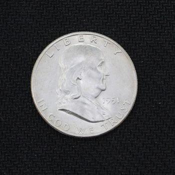 1951-S Franklin Silver Half Dollar BU
