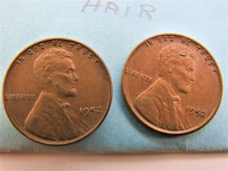 """1952 Pair of Error Pennies """"Worm in Hair"""" (022)"""