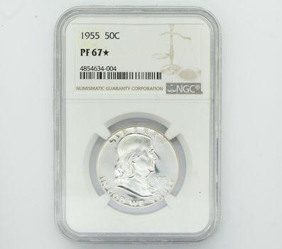 1955 Franklin Silver Half Dollar NGC PF 67 Star (004)