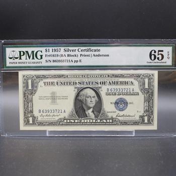 1957 $1 Silver Certificate 65 Gem Uncirculated EPQ Fr#1619 PMG