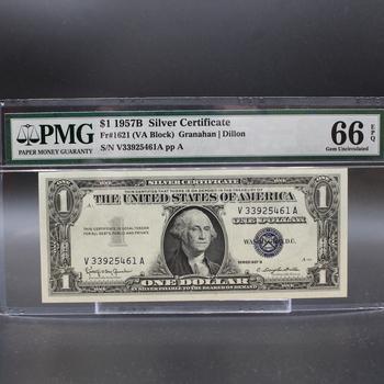 1957B $1 Silver Certificate VA Block 66 Gem Uncirculated EPQ