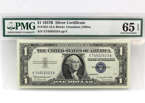 1957B $1 Silver Certificate XA Block Gem Unc. 65 EPQ PMG (523)