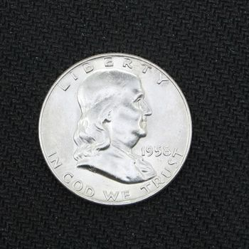 1958-D Franklin Silver Half Dollar BU