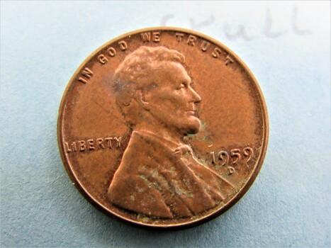 """1959 D Error Penny """"Cracked Skull"""" (120)"""