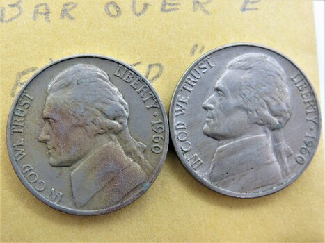 """1960 Pair of Error Nickels """"Bar Over E Filled D"""" (090)"""