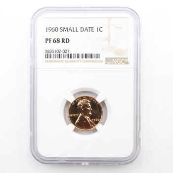1960 Small Date Proof Red Lincoln Cent NGC PF 68 RD