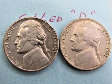 "1961 D Pair of Error Nickels ""Filled D"" (062)"