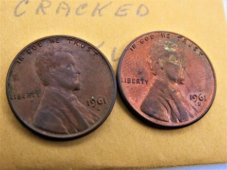 "1961 D Pair of Error Pennies ""Cracked Skull"" (151)"
