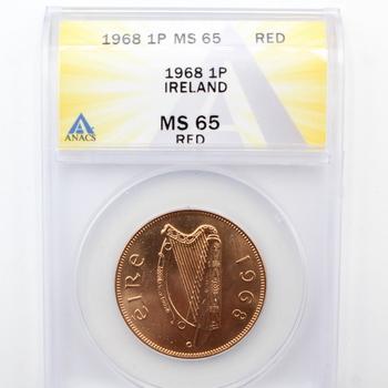 1968 1P Ireland ANACS MS 65 RED
