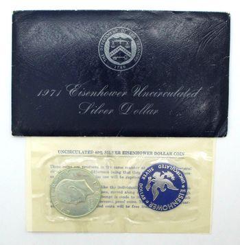 1971 Eisenhower Uncirculated 40% Silver Dollar & Token