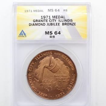 1971 Medal Granite City Illinois Diamond Jubilee Bronze MS 64 RB