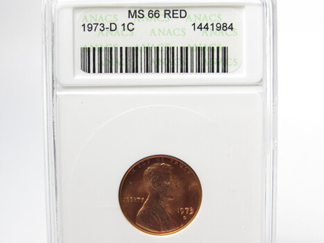 1973-D Lincoln Cent ANACS MS66RD (258)