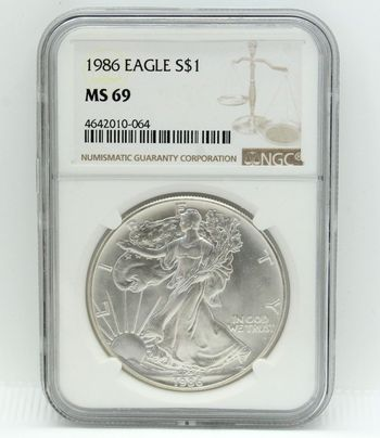 1986 Eagle 1oz Silver Dollar NGC MS69
