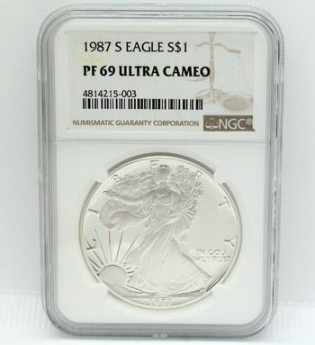1987 $1 1oz Fine Silver Dollar Eagle NGC PF69 Ultra Cameo